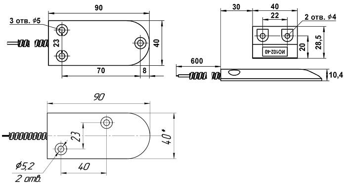 Извещатель охранный точечный магнитоконтактный высокотемпературный ИО 102-40