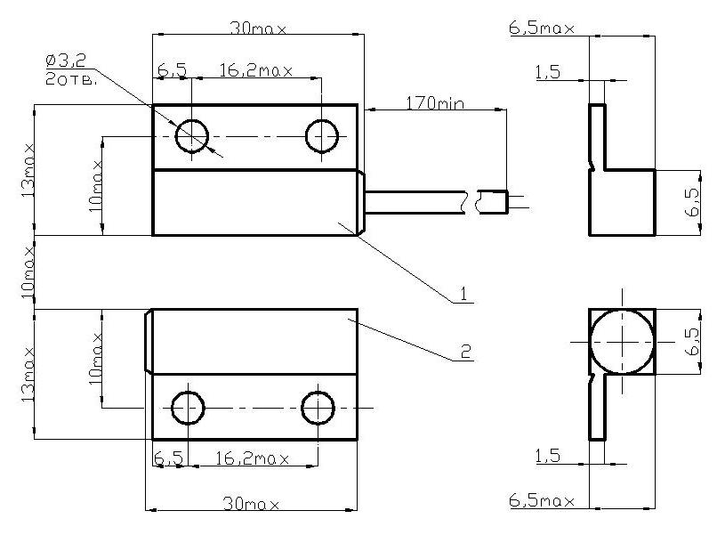 Извещатель охранный точечный магнитоконтактный ИО 102-4