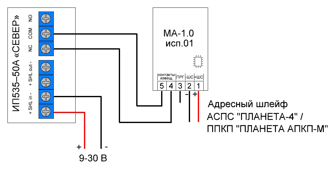 ИП 535-50 СЕВЕР, МЕТКА АДРЕСНАЯ МА-1.0